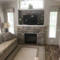 park model living room fireplace